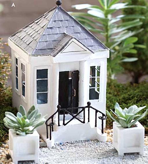 Miniature Fairy garden Greek Revival house