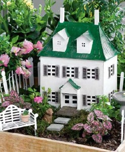miniature fairy garden colonial house