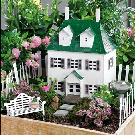 miniature fairy garden colonial house