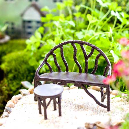 Miniature Wildewood fairy garden bench