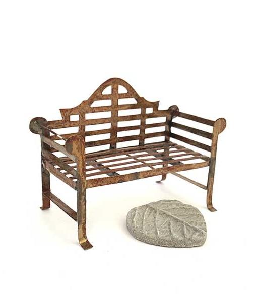 Miniature fairy garden Lutyens bench