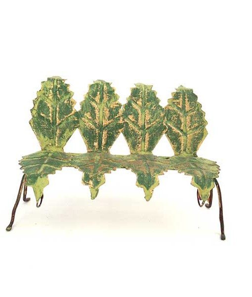 Miniature fairy garden leaf bench