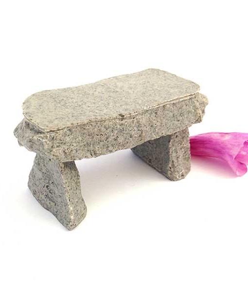 Miniature fairy garden stone bench
