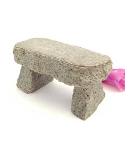 Miniature fairy garden stone bench