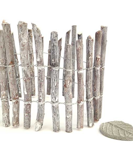 Miniature fairy garden weathered wood fence