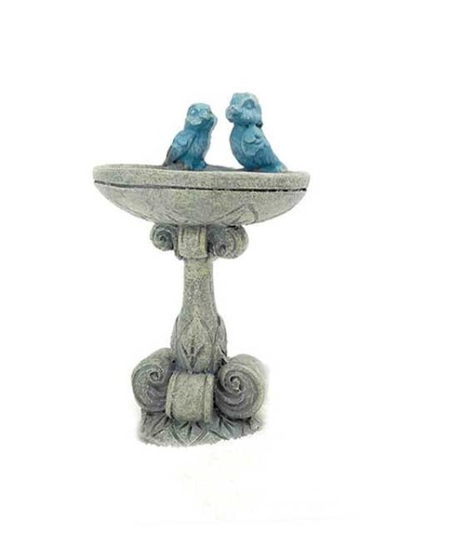 Fairy birdbath with bluebirds