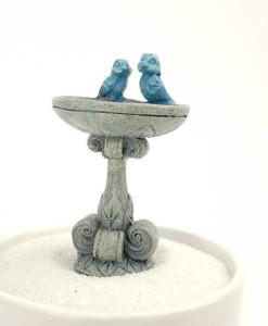 Fairy birdbath with bluebirds