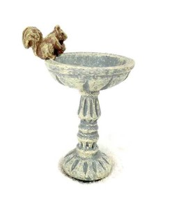 Miniature birdbath with squirrel