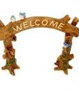 Miniature fairy garden welcome sign