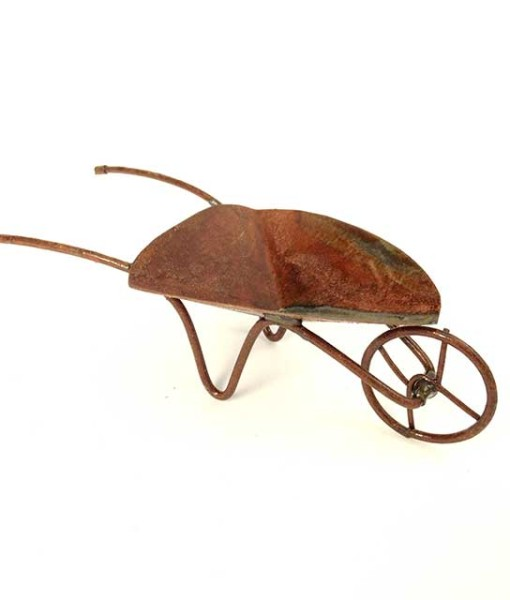 Rustic fairy garden wheelbarrow