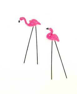 Miniature fairy garden flamingos