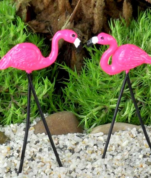 Miniature fairy garden flamingos