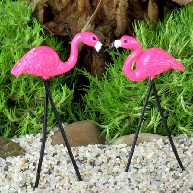 garden flamingos. Miniature Fairy Garden Flamingos