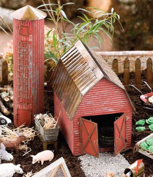 miniature fairy garden barn