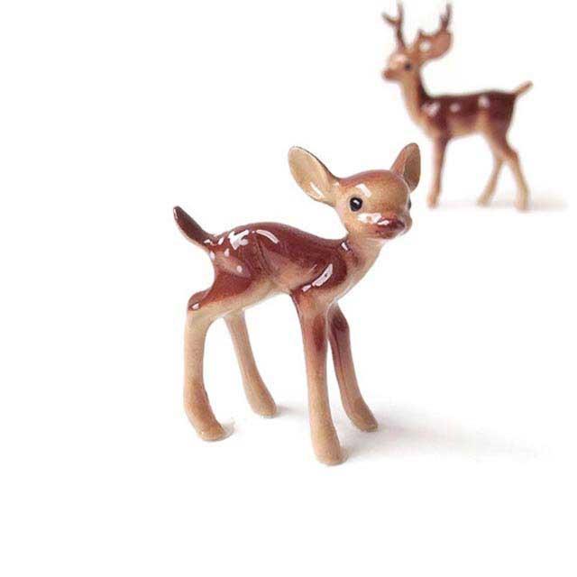 Deer Fawn Pair sitting MG 429 Miniature Fairy Garden