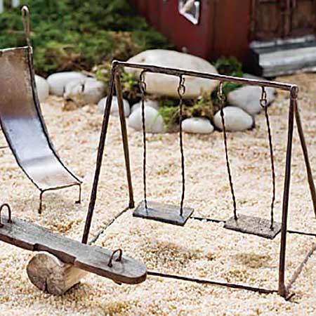 Miniature fairy garden swing fairy garden expert for How to make miniature garden furniture